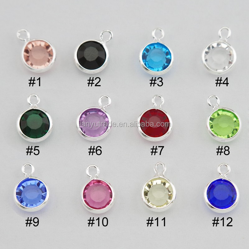 birthstone <strong>charms</strong> for bracelet or necklace as a gift rhinestone jewelry crystal