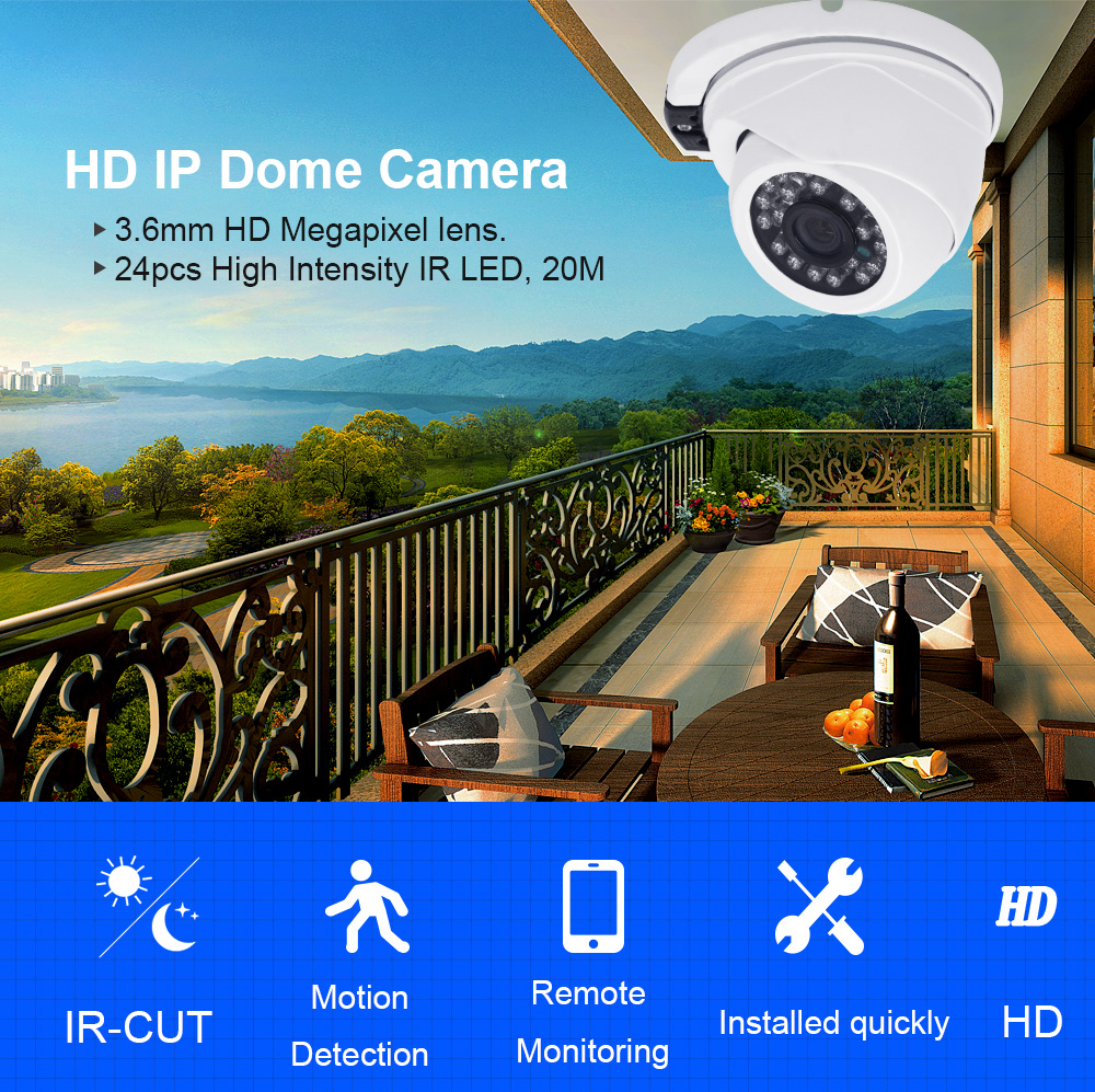 24pcs IR Dome IP Security Camera System Surveillance IP Cam for Sony IMX 323