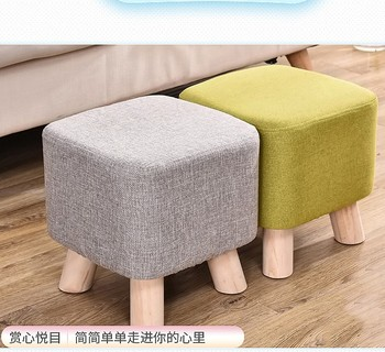 Colourful wooden round stool or ottoman TLF-226