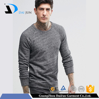 Daijun oem 2016 new design high quality men plain heather grey fashion couple pullover sweater