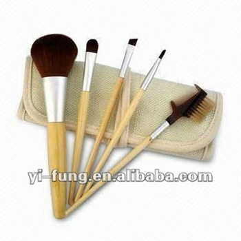 Makeup Brush Set with Bamboo Handle, Bristles Made of Nylon Hair