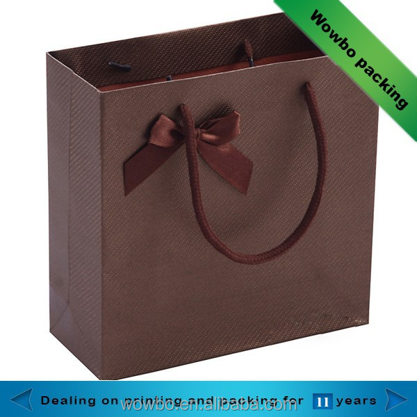 tawny custom made jewelry packing bag with ribbon