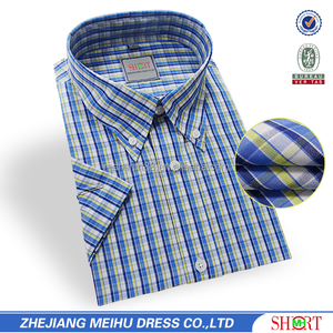 summer 100% cotton iron free check shirts
