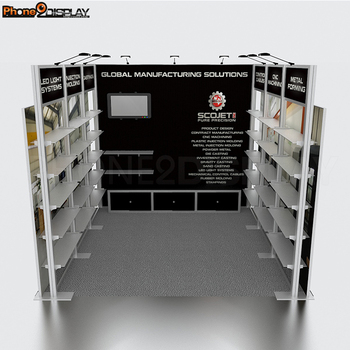 Hot sale cheap portable 20 by 20 aluminum 1 side-open exhibition trade show booth system