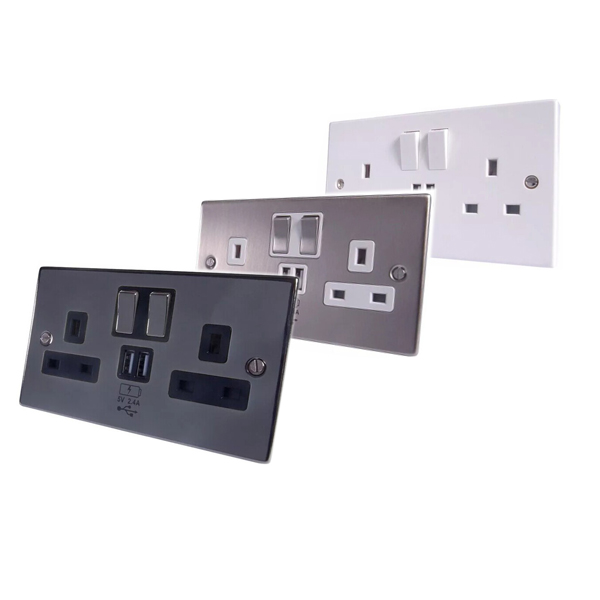 5V/4.8A Hot sales UK Socket 2015 Double USB 2 Gang Electric Wall Plug Faceplate 2 USB Outlets