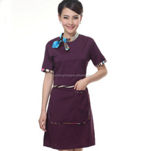 Fashionable custom hotel uniform design workwear high quality housekeeping hotel staff receptionist uniforms