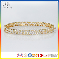 China Factory Wholesale Price 14K Gold Diamond Bangle Bracelets