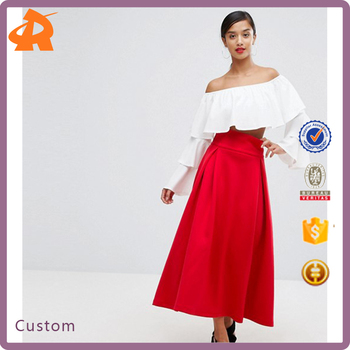 custom make elegant red skirt,new arrival casual maxi skirt for women