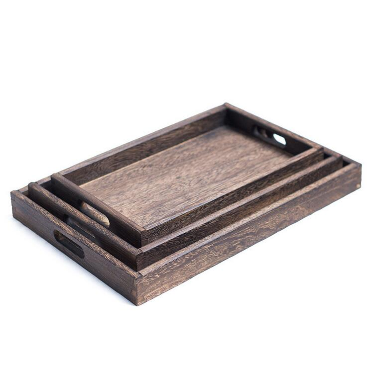 Rectangle Walnut Tableware Custom Cheap Wood Tray For Tea