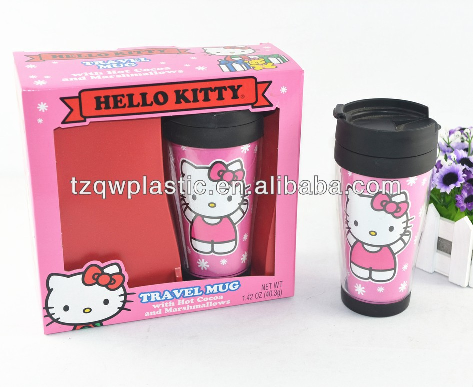 16oz Plastic Insulated Double wall Travel Mug with photo insert