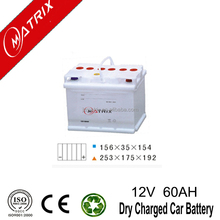 Matrix Brand dry charge battery charger 12v 60ah lead acid batteries DIN: European Standard