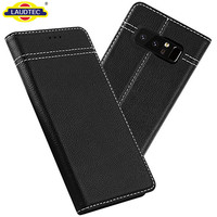 Genuine Leather Card Slot Cover Slim Flip Folio Wallet Case for Samsung Galaxy Note 8