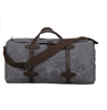 custom high quality waxed canvas travel bag with leather tim