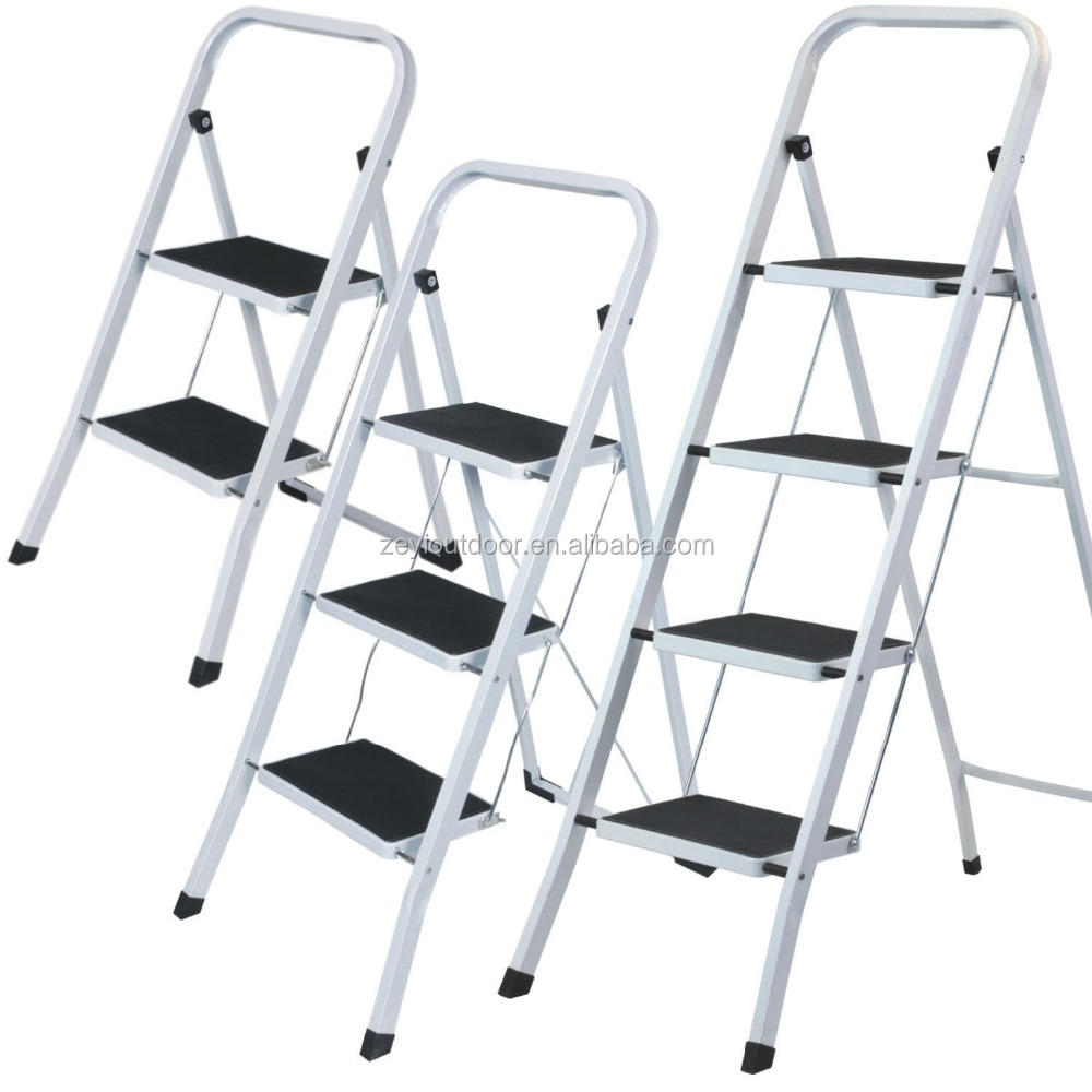 FOLDABLE STEP STEEL LADDER NON SLIP MATT TREAD STEPLADDER