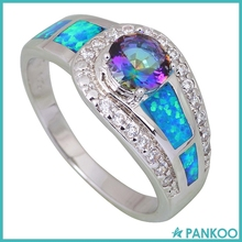 Fashion 925 Sterling Silver Mystic Rainbow Tanzanite Blue Fire Opal Ring