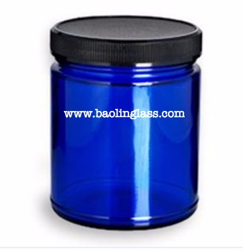 9oz 270ml Cobalt Blue Glass Jar with Black Lid