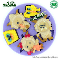 F0220 Cartoon Sheep Make Fondant Mold Silicone Cake Decor