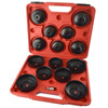 Oil filter wrench / remover set / cup type 15pcs 65mm - 100mm