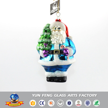 Glass crafts christmas colorful Santa Claus carrying pine tree hanging figurine