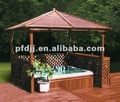 100% wooden rectangle outdoor gazebo pavilion with hot spa