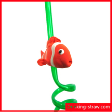 Drinking straw with 3D cartoon figurine