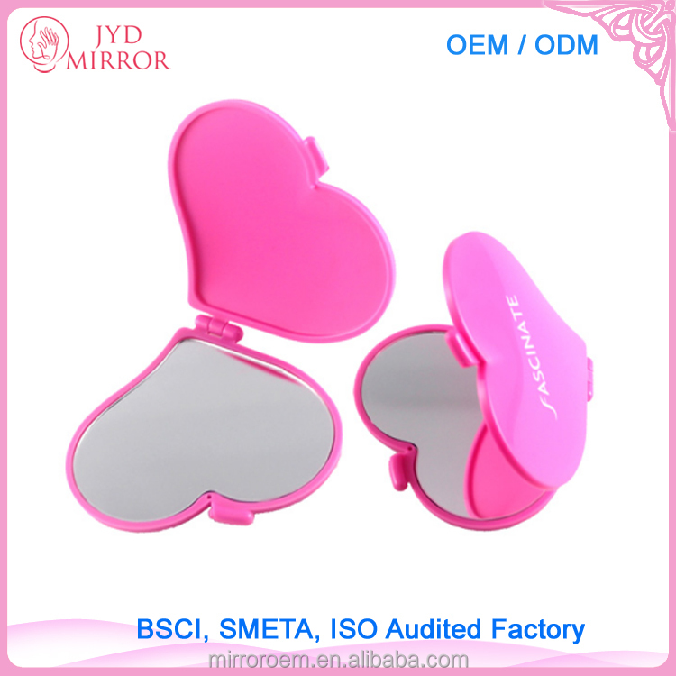 Cheap colorful heart shaped single sided pocket foldable mirror