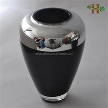 Handmade electroplate silvered glass vase, spray black with circle silvered glass jar