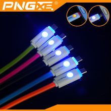 PNGXE color product flexible flat led cell phone charging line