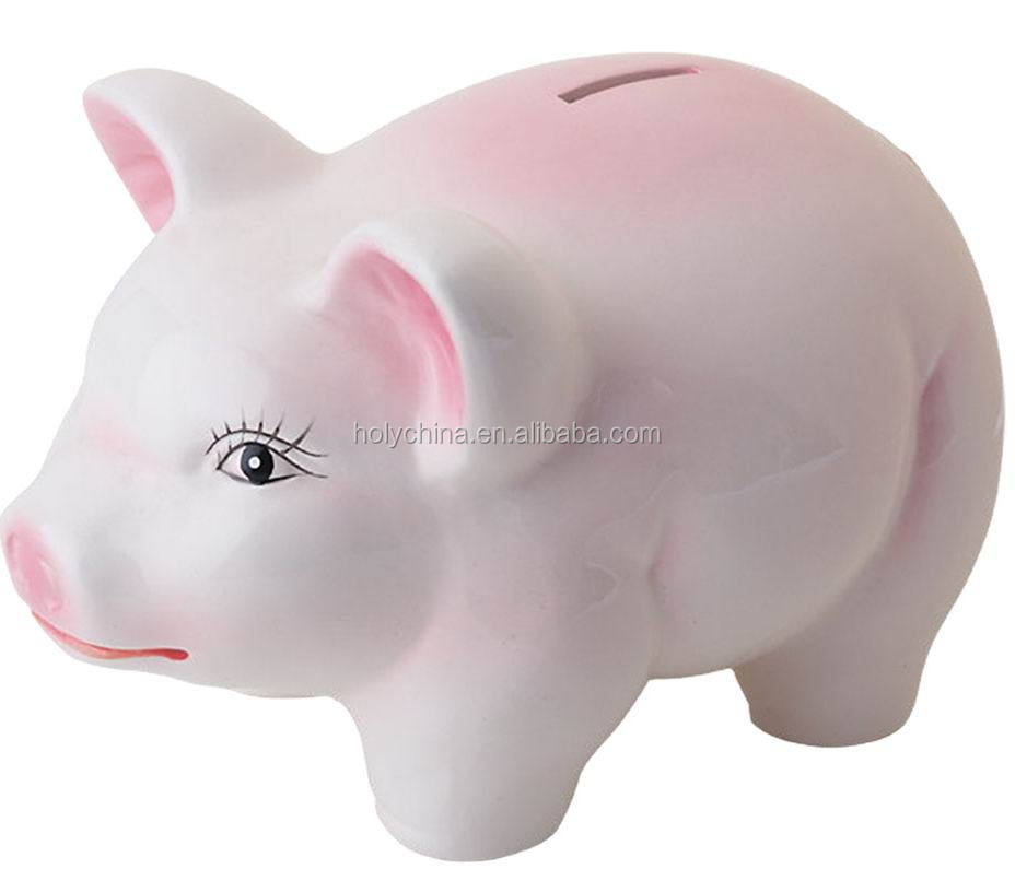 hot sale high quality wholesale white ceramic piggy banks