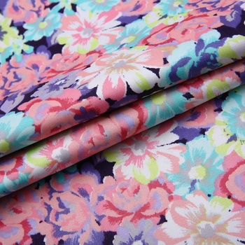 Custom in stock color 97% cotton 3% spandex print satin fabric by the yard for women dress