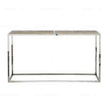 Modern industrial parque recycled with polished stainless steel frame modern console table wood