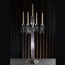 K9 glass candle holder 5 arms crystal candelabra for wedding centerpiece decoration