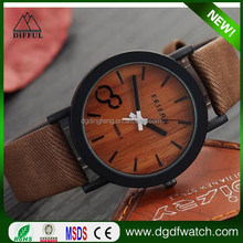 leather watches free samples /vintage wood effection wrist watches for couples
