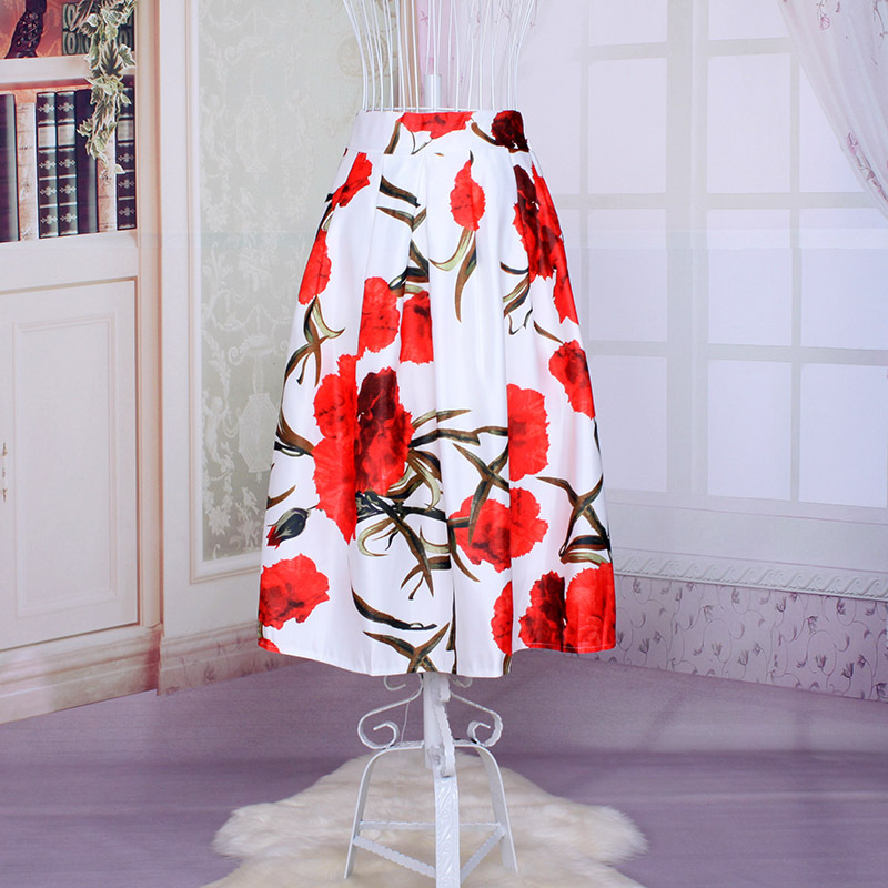China Supplier Wholesale Japanese Style Lure Floral Mid Skirt For Women