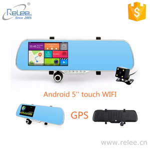 5 Inch Android car rearview mirror camera GPS navigation car DVR dual lens rear view Full HD 1080P video recorder camera