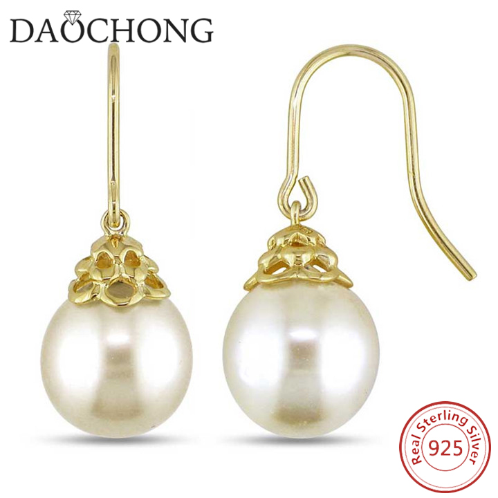 2017 Korean simple fashion women hanging big dangle pearl earring