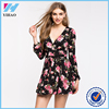 Yihao 2016 Summer Girls Western New Design Black Colour Ladies Floral Print Dress Fashion Maxi One Piece Casual Women Dresses