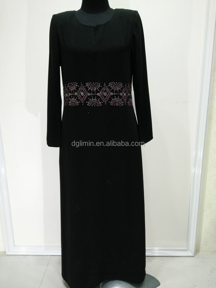 Black Abaya Islamic Clothing Baju Melayu Muslim Arabian Robe Wholesale