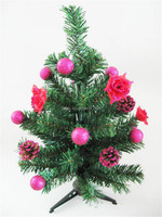 Promotional Mini High-end PVC Christmas Tree Decoratived Red Flowers, Cone, Ball