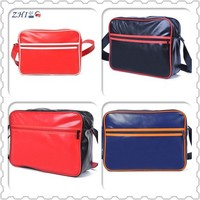 OEM alibaba china supplier zipper sports pu leather shoulder messenger bag with various color