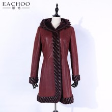 EACHOO woman's warm cashmere coat long style 100% Australian imported lamb fur sheepskin overcoat and cashmere jacket