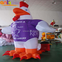 Popular sale customized giant inflatable rooster chicken cartoon model for advertising