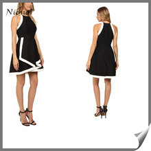 Latest School Girls Without Dress Tired Strucured Stitch Patch Sleeveless Women Dance Dress For Sexy LB-W100719