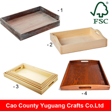 Alibaba China Wholesale Antique Wooden Serving Tray with handles