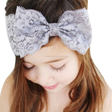 Factory Price Baby Big Lace Bowknot <strong>Hair</strong> <strong>Accessories</strong> Elastic Bands For Boutique