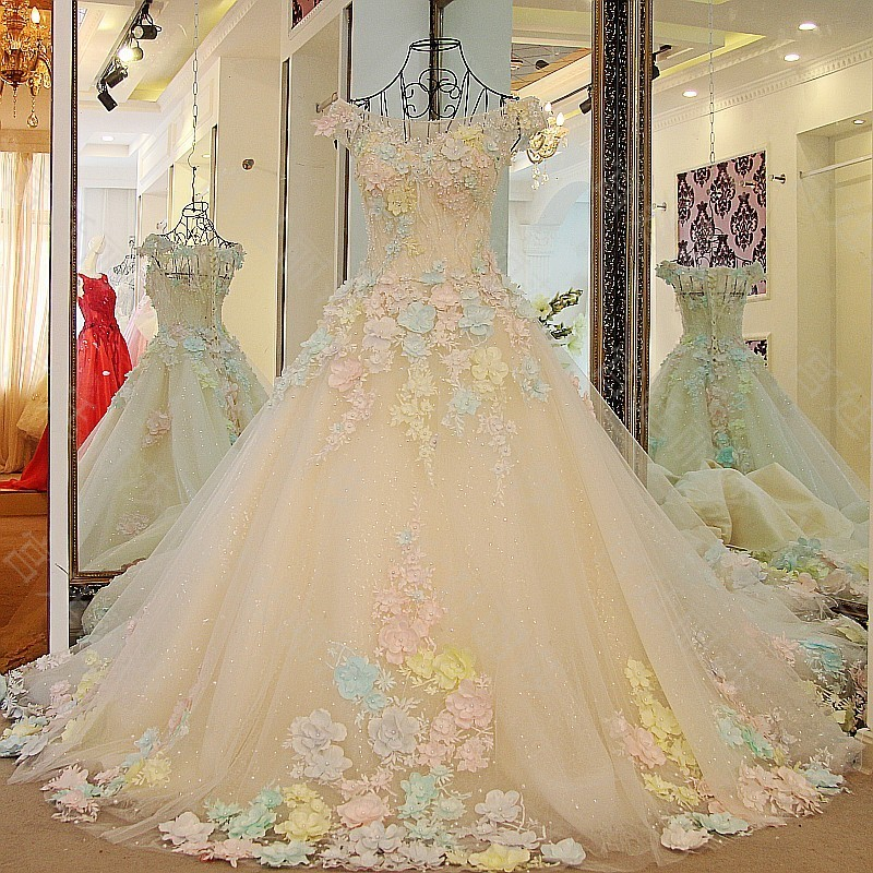 LS65701 Flowers big long train real wedding gown embrodery long cap sleeve chiffon colorful muslim wedding dress
