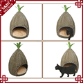 Special pineapple shape eco-friendly rattan home use pet bed cat play house waterproof dog bed
