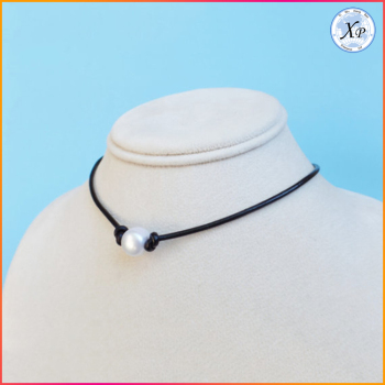 Factory Low Price Wholesale Adjustable Choker Leather Pearl Necklace