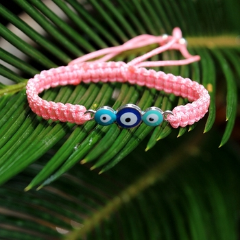 Yiwu Wholesasle Sweet Girl Gift Pink Braided Ribbon Three Evil Eyes Charms Bracelet