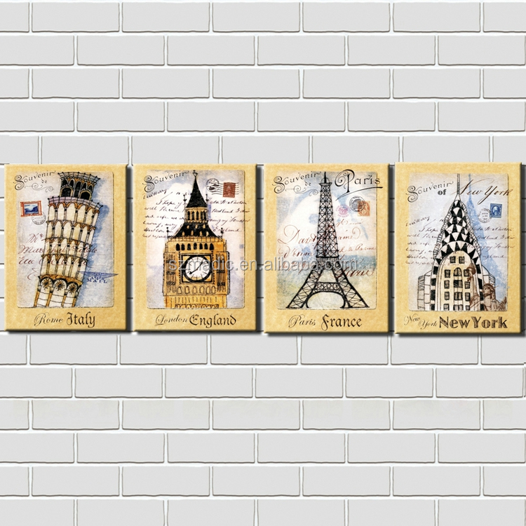 Framed Wall Art Italy England France New York Building Abstract Painting for Sale 4 Piece Stretched Wall Oil Painting